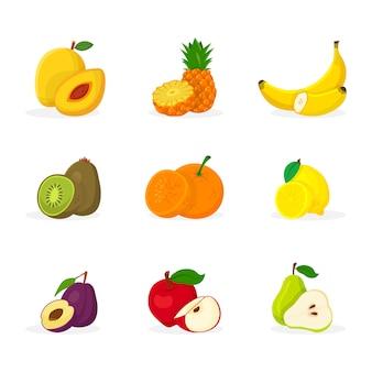 Zestaw ilustracji owoców tropikalnych