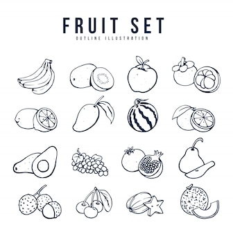 Zestaw ilustracji owoców