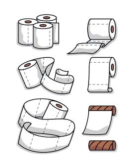 Zestaw ilustracji papieru toaletowego