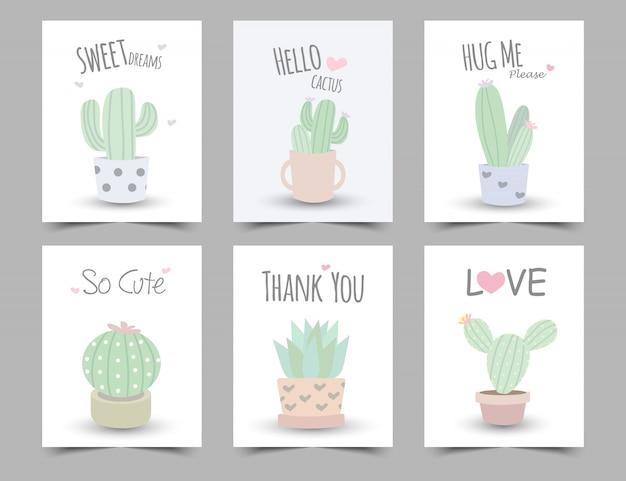 Zestaw ilustracji pastelowych kolorów z kaktusa.