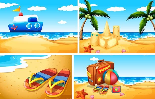 Zestaw ilustracji piaszczystej plaży