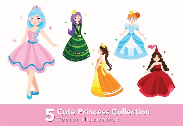 Zestaw ilustracji pięknej księżniczki