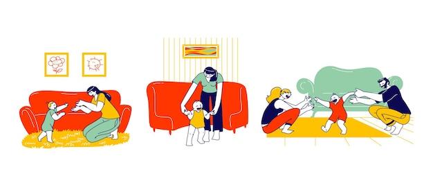 Zestaw ilustracji pierwszego kroku dziecka.