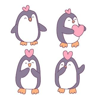 Zestaw ilustracji pingwina w miłości