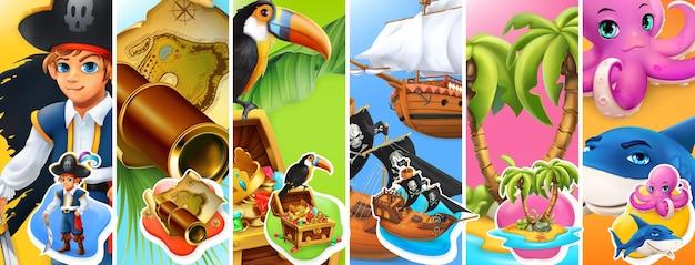 Zestaw ilustracji piratów