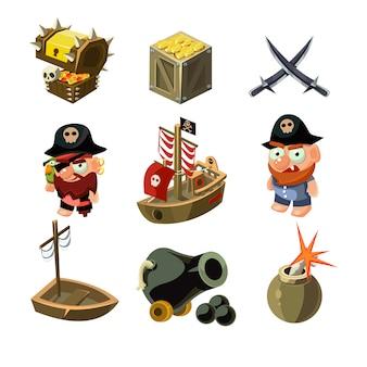 Zestaw ilustracji piratów.