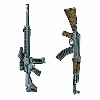 Zestaw ilustracji pistoletu