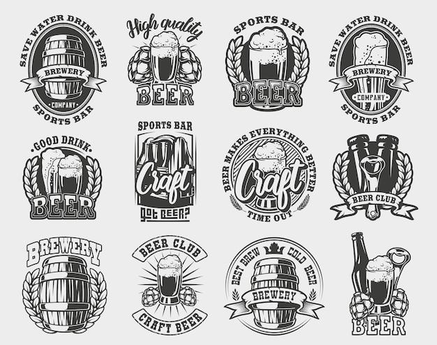 Zestaw ilustracji piwa na białym tle.