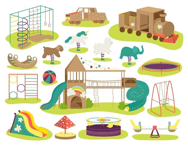 Zestaw ilustracji placu zabaw dla dzieci. tablica do gry w teeter, huśtawki, piaskownica, piaskownica i ławka, karuzela, zjeżdżalnia dla dzieci, domek do zabawy. plac zabaw dla dzieci, plac zabaw dla dzieci, teren wypoczynkowy.