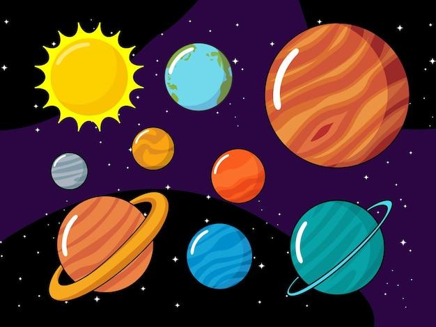 Zestaw ilustracji planet układu słonecznego