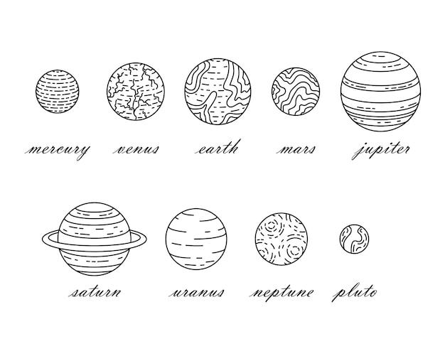 Zestaw ilustracji planet