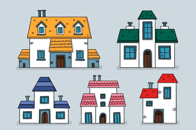 Zestaw ilustracji płaska konstrukcja domów