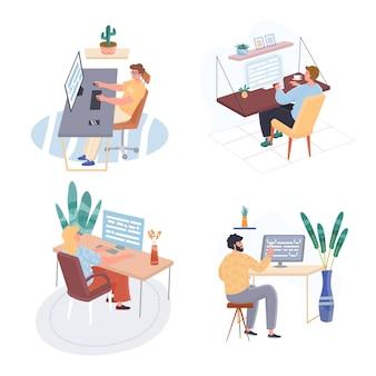 Zestaw ilustracji płaska konstrukcja nowego biznesu