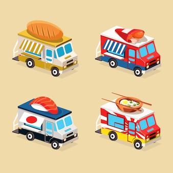 Zestaw ilustracji płaski ciężarówka żywności