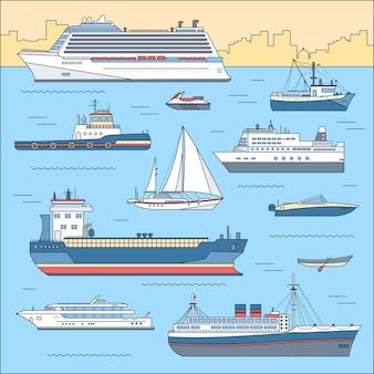 Zestaw ilustracji płaski jacht