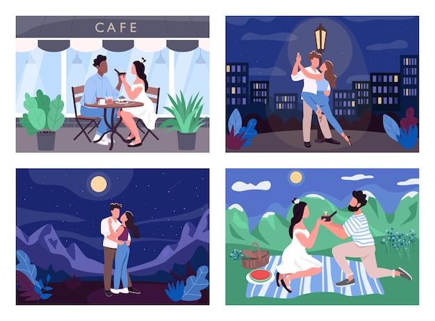 Zestaw ilustracji płaski kolor romantycznej aktywności