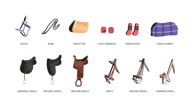 Zestaw ilustracji płaski strój jeździecki. siodła, uzdy i akcesoria
