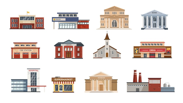 Zestaw ilustracji płaskich budynków miejskich