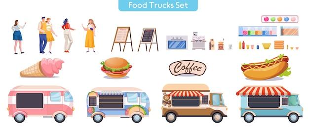 Zestaw ilustracji płaskich ciężarówek spożywczych