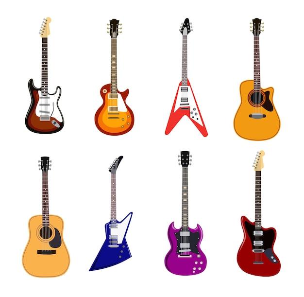Zestaw ilustracji płaskich gitar akustycznych i elektrycznych