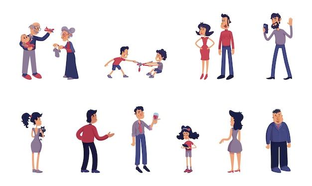 Zestaw ilustracji płaskich kreskówek dla dorosłych i dzieci. dziadkowie z dzieckiem, rodzeństwo, para. kaukascy kobiety i mężczyźni. gotowe do użycia szablony komiksów 2d do reklam, animacji, druku