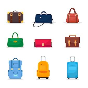 Zestaw ilustracji płaskich toreb i walizek