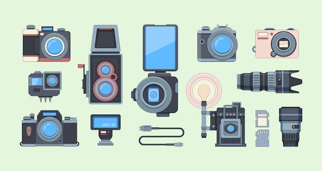Zestaw ilustracji płaskie aparaty retro i nowoczesne. zbiór różnych urządzeń fotograficznych.