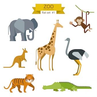 Zestaw ilustracji płaskie kreskówka kreskówka zwierząt.