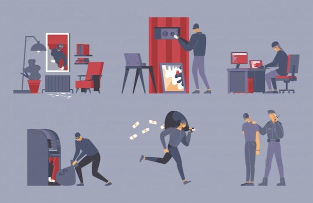 Zestaw ilustracji płaskiej działalności przestępczej.