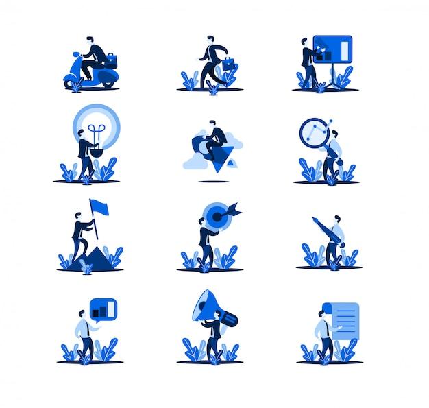 Zestaw ilustracji płaskiej firmy