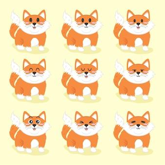 Zestaw ilustracji płaskiej konstrukcji cute little fox