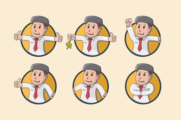 Zestaw ilustracji płaskiej słodkiej muzułmańskiej biznesmena