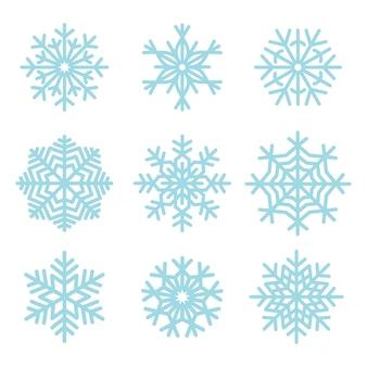 Zestaw ilustracji płatki śniegu