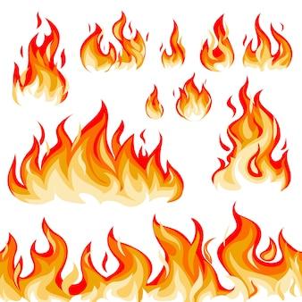 Zestaw ilustracji płomień