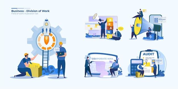 Zestaw ilustracji podziału pracowników biurowych ludzi