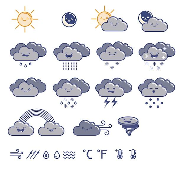 Zestaw ilustracji pogody.