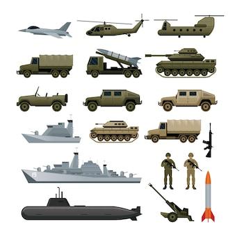Zestaw ilustracji pojazdów wojskowych armii, widok z boku