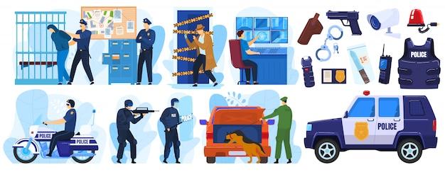 Zestaw ilustracji policji, kreskówka policjant i postacie kryminalne na areszcie w nagłych wypadkach, policjanci w mundurach