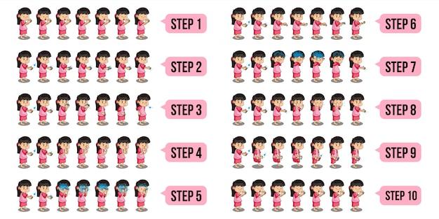 Zestaw ilustracji postaci muzułmańskich dziewcząt wykonujących wudu krok po kroku.