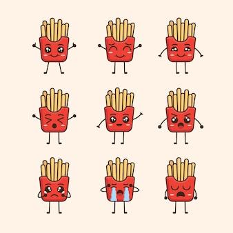 Zestaw ilustracji postaci smażonych ziemniaków