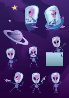 Zestaw ilustracji postaci z kreskówek pozaziemskich 2d