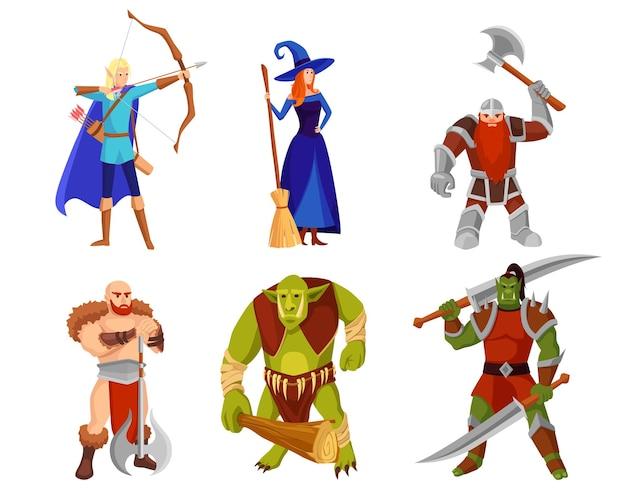 Zestaw ilustracji potworów i wojowników z kreskówek