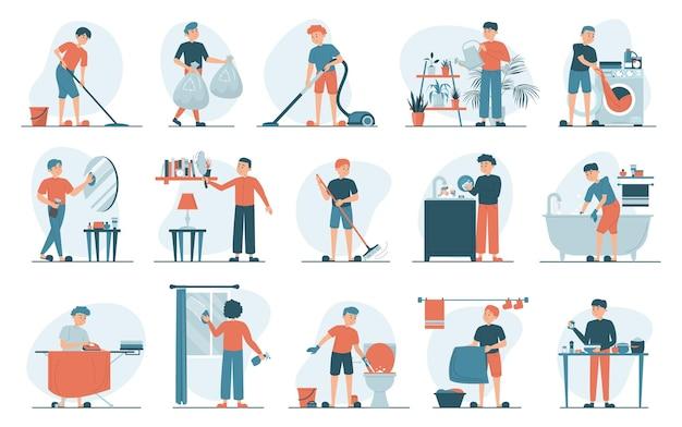 Zestaw ilustracji prac domowych