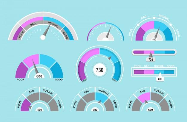 Zestaw ilustracji prędkościomierzy i wskaźników. kolekcja wskaźników na niebieskim tle w stylu cartoon płaski.