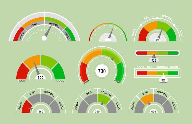 Zestaw ilustracji prędkościomierzy pomiaru ikon. kolekcja wskaźników z różnymi wskaźnikami w stylu płaskiej kreskówki.