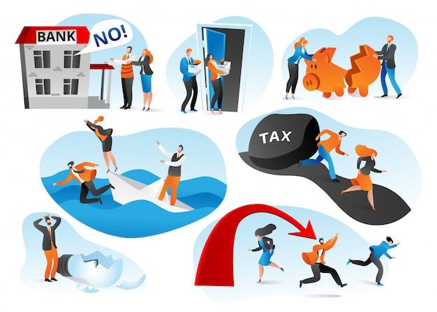 Zestaw ilustracji problemów i kryzysów biznesowych. spadek zysków, spadek ratingu, koncepcja upadłości firmy. kłopoty finansowe. zestresowani biznesmeni i menedżerowie biurowi. finanse spadają.