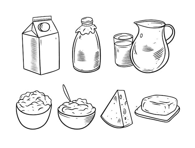 Zestaw ilustracji produktów mlecznych
