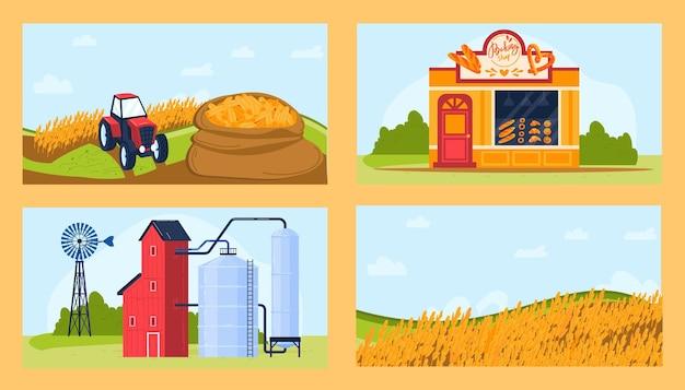 Zestaw ilustracji produktów rolnictwa pszenicy.