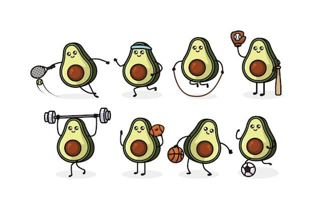 Zestaw ilustracji projekt maskotka awokado ładny sport