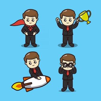 Zestaw ilustracji projekt maskotka koncepcja ładny przywództwo biznesmena